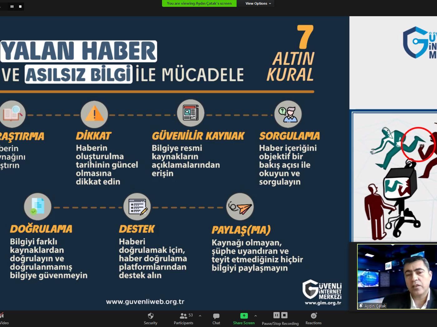 İzmir Karşıyaka Aydoğan Yağcı Bilim ve Sanat Merkezi Öğretmenlerine ve Velilerine Yönelik Online Eğitim