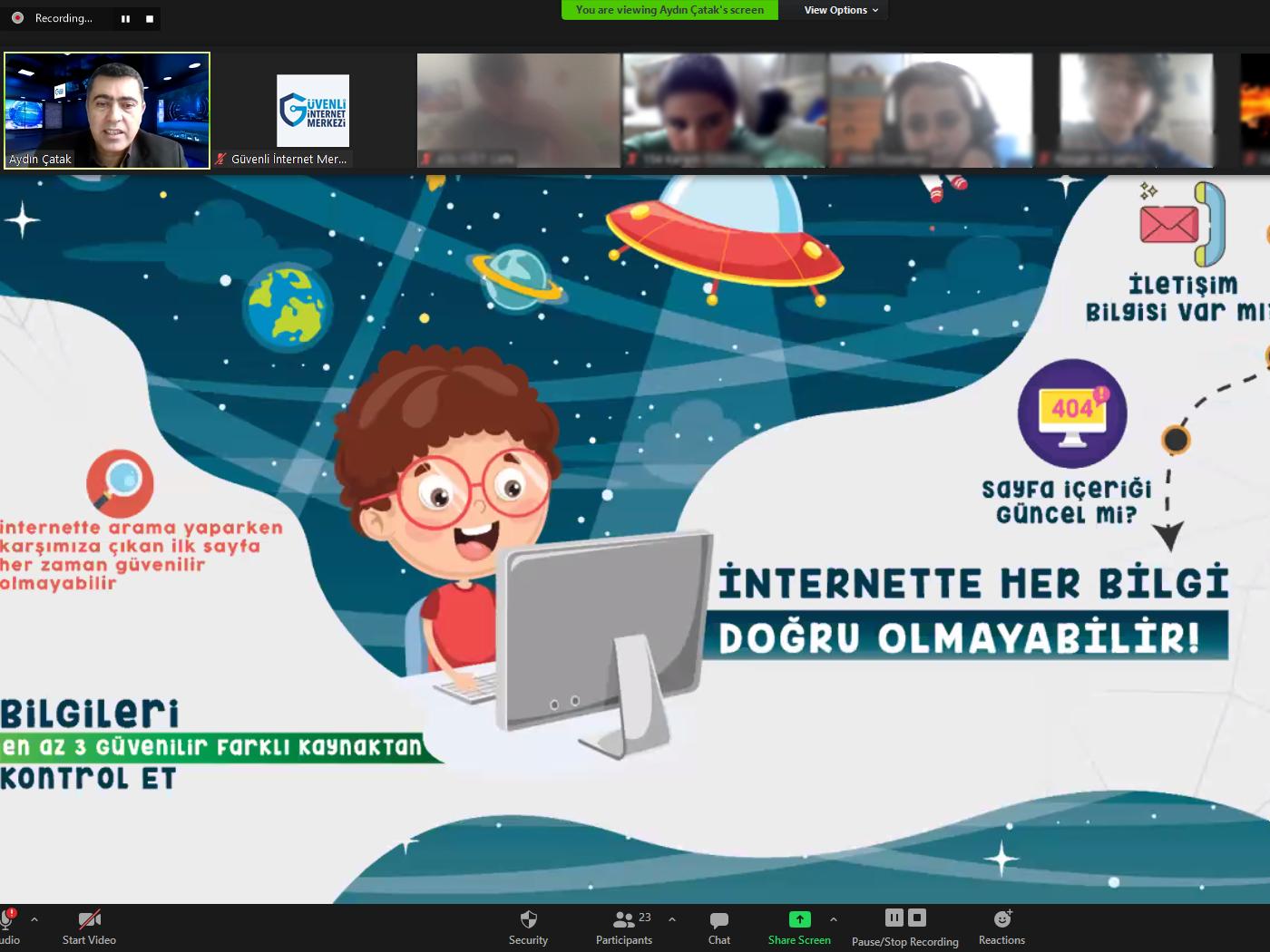 İzmir Karşıyaka Aydoğan Yağcı Bilim ve Sanat Merkezi Öğrencilerine Yönelik Online Eğitim