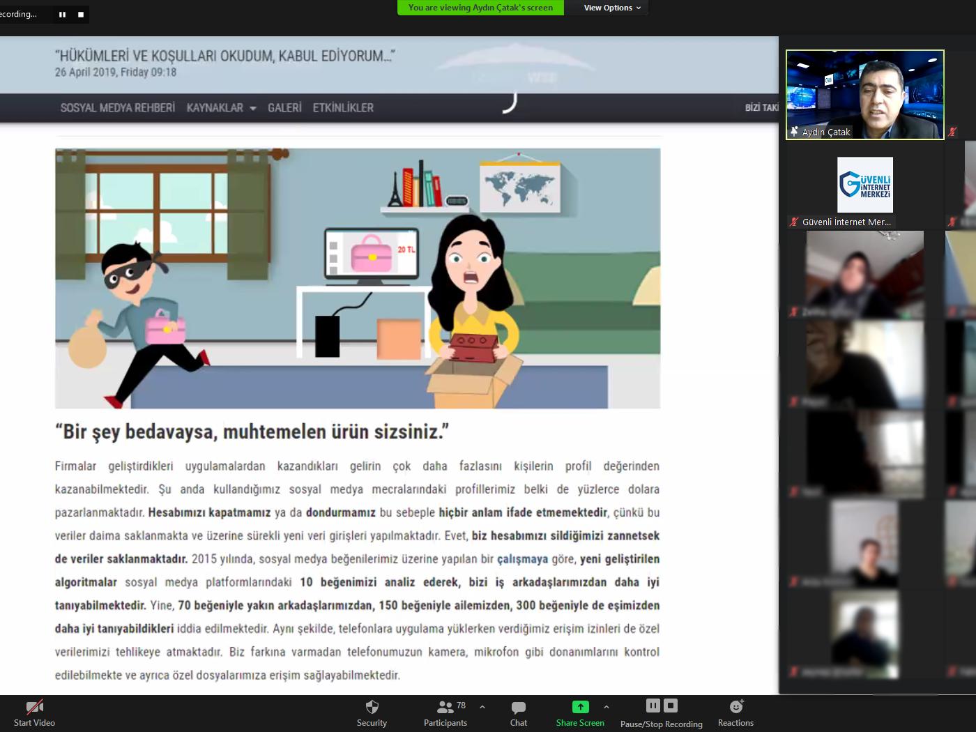 Zonguldak Ereğli İzmirlioğlu İlkokulu Velilerine Yönelik Online Eğitim